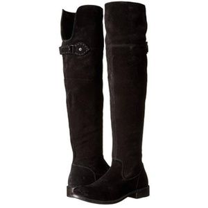 """NEW Frye """"Shirley OTK Black Suede Riding Boots"""